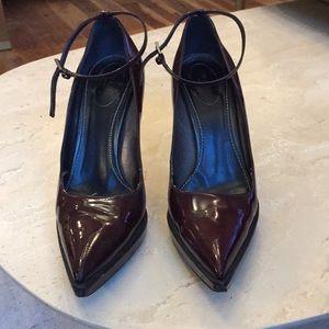 Prada Cognac platform heels with ankle strap